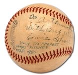 ERNIE SHORE SINGLE SIGNED BASEBALL WITH INSCRIPTION REFERENCING 1915 PERFECT GAME
