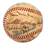 1966 HALL OF FAME INDUCTION MULTI-SIGNED BASEBALL FEAT. INDUCTEES TED WILLIAMS AND CASEY STENGEL PLUS ADDITIONAL SCARCE SIGNATURES INCL. WILLIAM ECKERT AND MRS. CHRISTY MATHEWSON