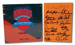 1972-73 NEW YORK KNICKS (WORLD CHAMPIONS) GAME USED MADISON SQUARE GARDEN FLOOR PIECES INCL. ONE TEAM SIGNED (RED HOLZMAN COLLECTION)