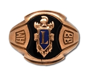 RED HOLZMANS 1938 FRANKLIN LANE HIGH SCHOOL (BROOKLYN, NY) 10K GOLD SENIOR CLASS RING (HOLZMAN COLLECTION)