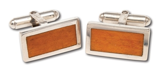 "RED HOLZMANS ""MSG"" STERLING SILVER CUFFLINKS MADE WITH MADISON SQUARE GARDEN VINTAGE FLOOR PIECES (HOLZMAN COLLECTION)"