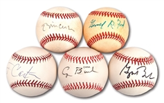 U.S. PRESIDENTS LOT OF (5) SINGLE SIGNED BASEBALLS INCL. FORD, CARTER, BOTH BUSHES & CLINTON