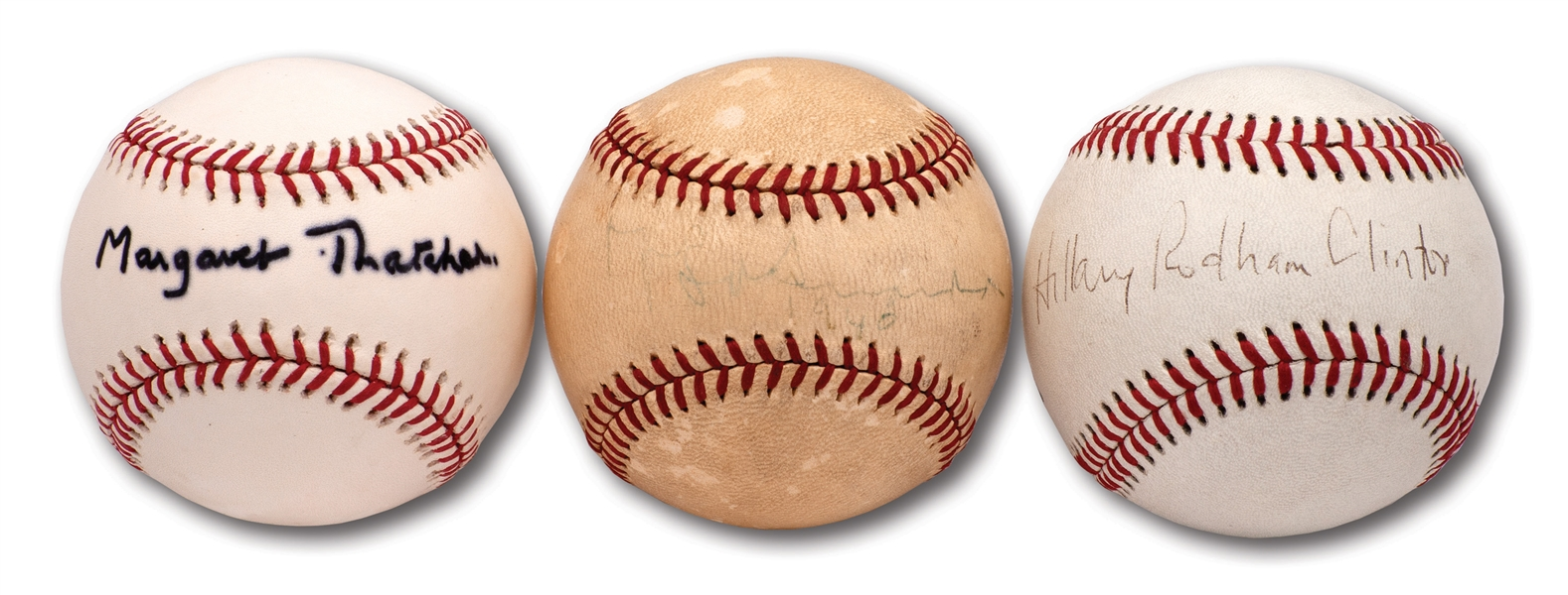 MARGARET THATCHER, FIORELLO LAGUARDIA, AND HILLARY CLINTON LOT OF (3) SINGLE SIGNED BASEBALLS