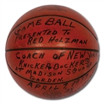 RED HOLZMANS 4/7/1977 (KNICKS VS. PACERS) GAME BALL PRESENTED AFTER FINAL HOME GAME AT MSG - PREMATURE RETIREMENT (HOLZMAN COLLECTION)