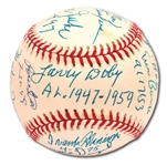 """INTEGRATORS"" MULTI-SIGNED JACKIE ROBINSON COMMEMORATIVE BASEBALL SIGNED BY (12) PLAYERS WHO BROKE BASEBALL COLOR BARRIERS (PSA/DNA NM-MT 8.5)"