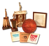 RED HOLZMANS 1963-67 PONCE LEONES LOT OF (3) BSN CHAMPION TROPHIES, 64 TEAM SIGNED GAME BALL AND EPHEMERA FROM HIS PUERTO RICO COACHING ERA (HOLZMAN COLLECTION)