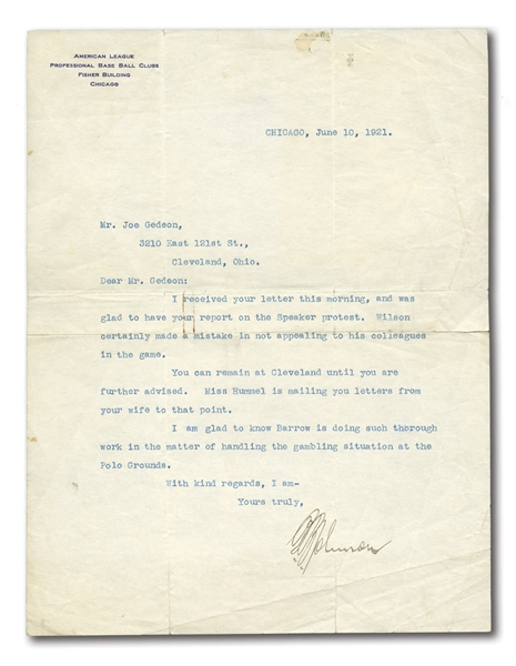 "1921 BAN JOHNSON SIGNED LETTER REFERENCING TRIS SPEAKER AND ""GAMBLING SITUATION AT THE POLO GROUNDS"""