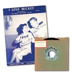 "C. 1956 MICKEY MANTLE AND TERESA BREWER ""I LOVE MICKEY"" 45 RECORD AND ORIGINAL SHEET MUSIC"