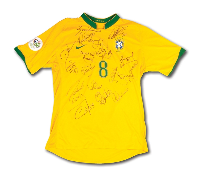 2006 BRAZIL (CBF) TEAM SIGNED KAKA #8 FIFA WORLD CUP MATCH ISSUED JERSEY (TEAM SOURCED)