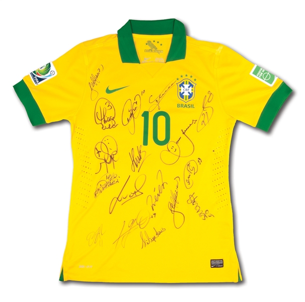 2013 BRAZIL (CBF) TEAM SIGNED NEYMAR #10 FIFA CONFEDERATIONS CUP MATCH ISSUED JERSEY (TEAM SOURCED)