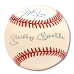 MICKEY MANTLE AND MIKE TROUT DUAL-SIGNED OAL (BROWN) BASEBALL (MLB AUTH.)