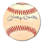 MICKEY MANTLE SINGLE SIGNED HAND-PAINTED PORTRAIT BASEBALL