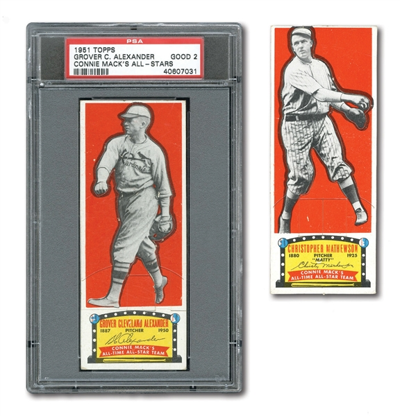 1951 TOPPS CONNIE MACK ALL-STARS GROVER ALEXANDER (PSA GD 2) AND CHRISTY MATHEWSON