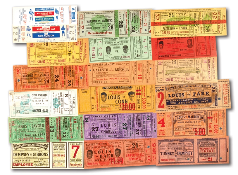 1920S-1970S BOXING COLLECTION OF (18) HISTORIC FIGHT TICKETS FEAT. LEGENDS JOE LOUIS, JACK DEMPSEY, MARCIANO, PATTERSON, ALI, ETC.