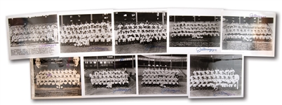 JOE DIMAGGIO AUTOGRAPHED LOT OF (9) NEW YORK YANKEES TEAM PHOTOS