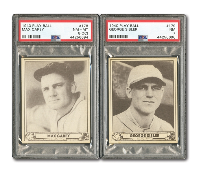 1940 PLAY BALL #179 GEORGE SISLER PSA NM 7 AND #178 MAX CAREY PSA NM-MT 8 (OC)
