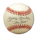 "MICKEY MANTLE SINGLE SIGNED BASEBALL INSCRIBED ""THE MICK"""