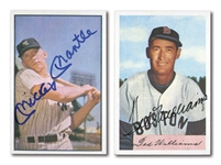 MICKEY MANTLE AND TED WILLIAMS PAIR OF AUTOGRAPHED BASEBALL CARDS