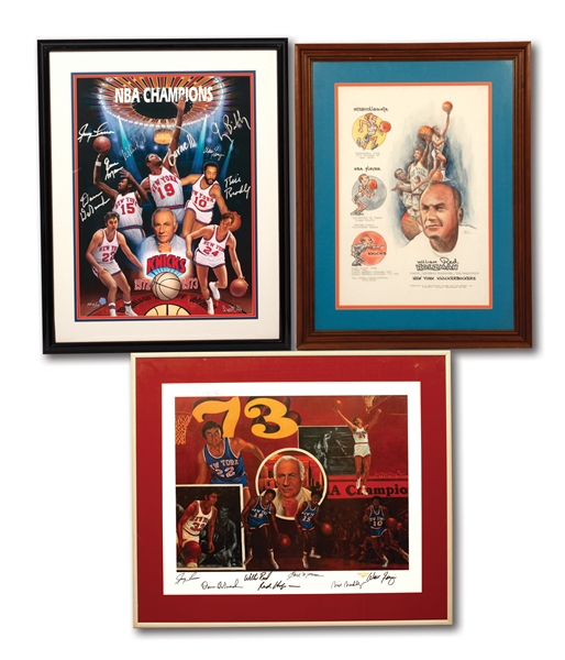 1972-73 NEW YORK KNICKS WORLD CHAMPION TEAM SIGNED DOO S. OH (PP 5/10) AND ROBERT STEVEN SIMON (A.P.) PAIR OF LITHOGRAPHS (PLUS ORIGINAL SKETCH BY BILL KING) PRESENTED TO COACH RED HOLZMAN