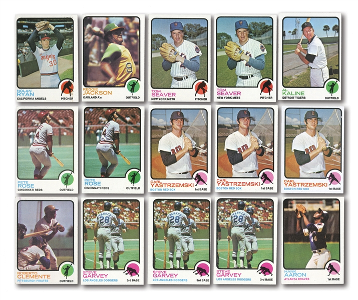 1973 TOPPS BASEBALL NEAR COMPLETE SET (605/660) PLUS (658) DUPLICATES INCL. MULTIPLES OF HOFERS AND STARS (1263 TOTAL)