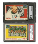 1955 TOPPS ALL-AMERICAN #68 THE FOUR HORSEMEN (PSA EX-MT+ 6.5) AND #16 KNUTE ROCKNE (SGC EX-MT+ 6.5)