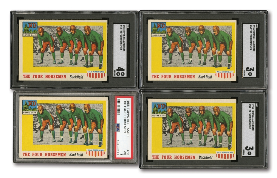 1955 TOPPS ALL-AMERICAN #68 THE FOUR HORSEMEN LOT OF (4) PSA & SGC GRADED (ALL VG 3 OR VG-EX 4)