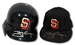 7/29/1998 TONY GWYNN SIGNED SAN DIEGO PADRES 4-HIT GAME USED BATTING HELMET AND CAP - EACH INSCRIBED W/ CAREER HIT #S