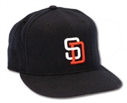 8/15/1997 TONY GWYNN SIGNED SAN DIEGO PADRES GAME USED CAP INSCRIBED W/ CAREER HIT #2731, PITCHER & DATE NOTATIONS
