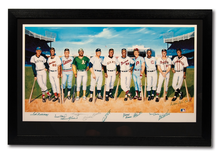 500 HOME RUN CLUB MULTI-SIGNED (11 TOTAL) RON LEWIS LARGE FORMAT PRINT - HARMON KILLEBREWS PERSONAL COPY!