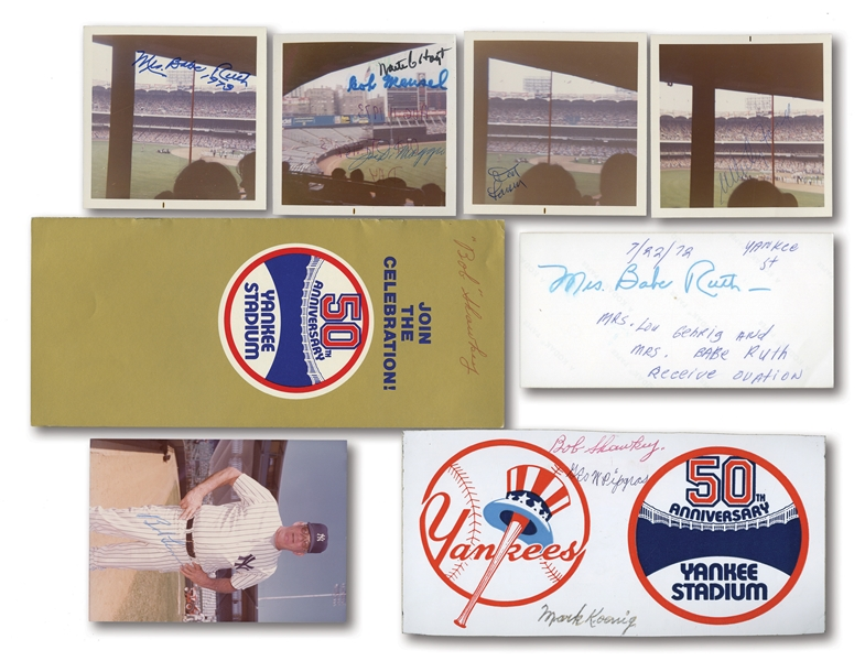 1970S NEW YORK YANKEES OLD TIMERS DAY LOT OF ORIGINAL PHOTOS, CORRESPONDENCE & AUTOGRAPHS FEAT. MARIS, DiMAGGIO, FORD, ETC. (PINSTRIPE DYNASTY COLLECTION)