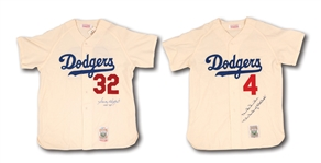 SANDY KOUFAX AND DUKE SNIDER PAIR OF AUTOGRAPHED DODGERS MITCHELL & NESS THROWBACK JERSEYS