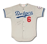 1980 STEVE GARVEY SIGNED & INSCRIBED LOS ANGELES DODGERS GAME WORN ROAD JERSEY (MEARS A10)