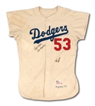 1959 DON DRYSDALE SIGNED LOS ANGELES DODGERS GAME WORN HOME JERSEY - 1ST WORLD SERIES ON WEST COAST (MEARS A10)