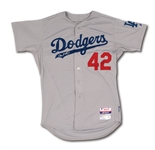 "2014 DON MATTINGLY SIGNED LOS ANGELES DODGERS ""JACKIE ROBINSON DAY"" #42 GAME WORN ROAD JERSEY (MLB AUTH.)"