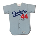 1974 AL DOWNING AUTOGRAPHED LOS ANGELES DODGERS GAME WORN ROAD JERSEY FROM YEAR HE GAVE UP HANK AARONS RECORD HR #715 (DELBERT MICKEL COLLECTION)