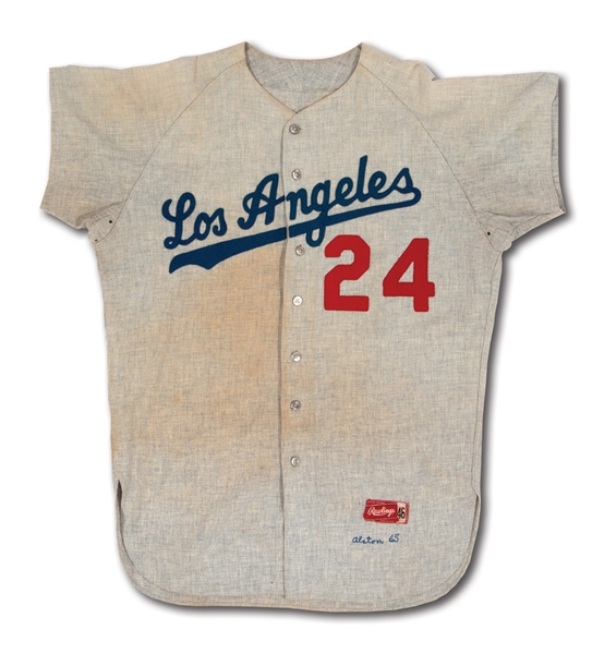 1965 WALTER ALSTON LOS ANGELES DODGERS (WORLD CHAMPIONSHIP SEASON) GAME WORN ROAD JERSEY