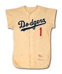 1959 PEE WEE REESE LOS ANGELES DODGERS (COACH) GAME WORN HOME JERSEY - 1ST WORLD SERIES ON WEST COAST (MEARS)