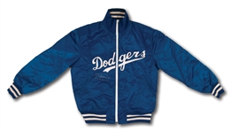 LATE 1970S - EARLY 80S TOMMY LASORDA SIGNED & INSCRIBED LOS ANGELES DODGERS GAME WORN JACKET