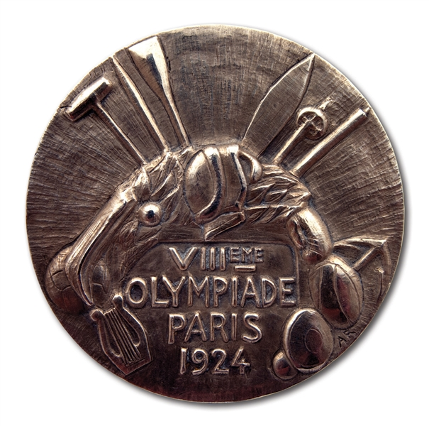1924 PARIS SUMMER OLYMPIC 2ND PLACE WINNERS SILVER MEDAL PRESENTED TO DENMARK MENS CYCLIST WILLY HANSEN