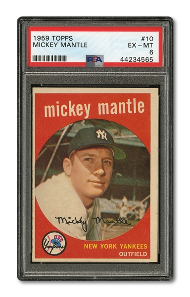 1959 TOPPS #10 MICKEY MANTLE PSA EX-MT 6