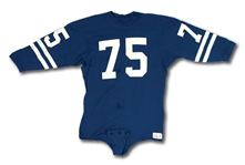 C. 1967-68 DEACON JONES LOS ANGELES RAMS GAME WORN ROAD ALTERNATE JERSEY - RARE BLUE COTTON STYLE (MEARS A8)