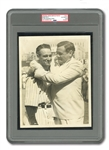 "ICONIC JULY 4, 1939 BABE RUTH AND LOU GEHRIG ORIGINAL 7x9 PRESS PHOTOGRAPH (PSA/DNA TYPE I) FROM LOU GEHRIG DAY TAKEN JUST AFTER ""LUCKIEST MAN"" SPEECH - ALSO 1962 TOPPS #140 CARD MATCH!"
