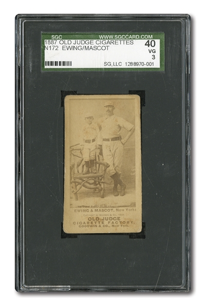 1887-90 OLD JUDGE N172 BUCK EWING & MASCOT SGC 40 VG 3