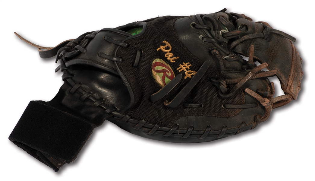 2015-16 YADIER MOLINA GAME USED & SIGNED RAWLINGS CATCHERS MITT WITH WRIST GUARD - POUNDED & PHOTO-MATCHED (MOLINA LOA, PSA/DNA TAUBE & ESKEN)