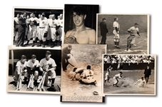 LOT OF (6) 1930S-40S LOU GEHRIG AND JOE DIMAGGIO RELATED NEWS SERVICE PHOTOGRAPHS (PINSTRIPE DYNASTY COLLECTION)