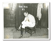 JUNE 13, 1948 BABE RUTH DAY ORIGINAL PHOTO – REMOVES YANKEE PINSTRIPES FOR FINAL TIME ON THE DAY HIS #3 IS RETIRED (FROM RUTH'S PERSONAL PHOTO ALBUM, PINSTRIPE DYNASTY COLLECTION)