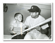 LATE 1950S MICKEY MANTLE VINTAGE AUTOGRAPHED UPI WIRE PHOTO (PINSTRIPE DYNASTY COLLECTION)