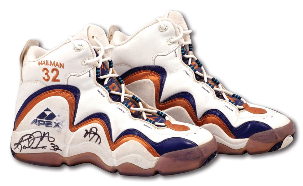 1998 KARL MALONE DUAL-SIGNED NBA FINALS GAME 6 WORN & PHOTO-MATCHED APEX MAILMAN SHOES - 31 PTS, 11 REBS & 7 AST.(RGU LOA, JAMAL ANDERSON LOA)