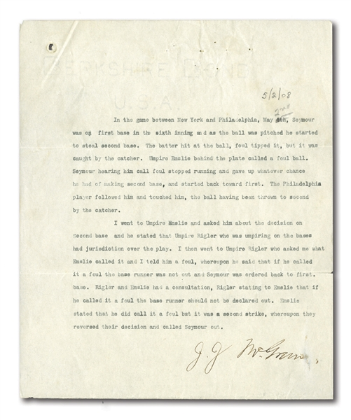 1908 JOHN McGRAW TYPED SIGNED LETTER REGARDING CALL DISPUTE BETWEEN UMPIRES CY RIGLER & BOB EMSLIE FROM 5/2/08 GAME