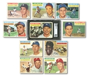 1956 TOPPS LOT OF (10) INCL. #135 MICKEY MANTLE SGC VG 3